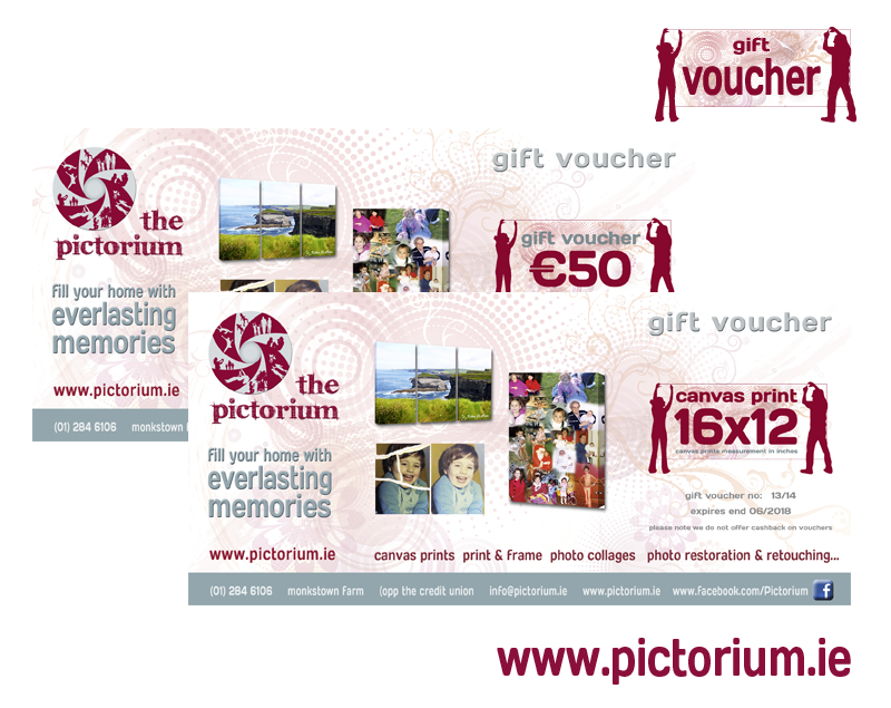 Pictorium Photoshop Monkstown Dublin Personalised Gift Vouchers Choose from our Canvas Prints Photo Frames, Float Frames, Photo Restoration, Photo Collages. Ideal birthday christening communion engagement wedding anniversary gifts mothers day, fathers day, valentines day, christmas gift